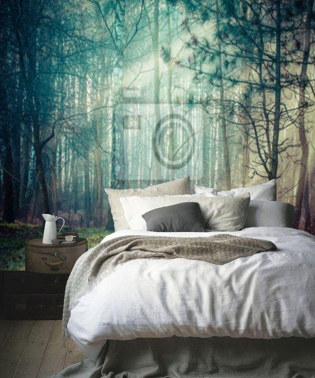 Magischer Weg im dunstigen Wald Fototapete Diy design, Bedrooms