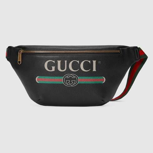 Canguro con Cinturón de Piel con Estampado Gucci  402b2950a17
