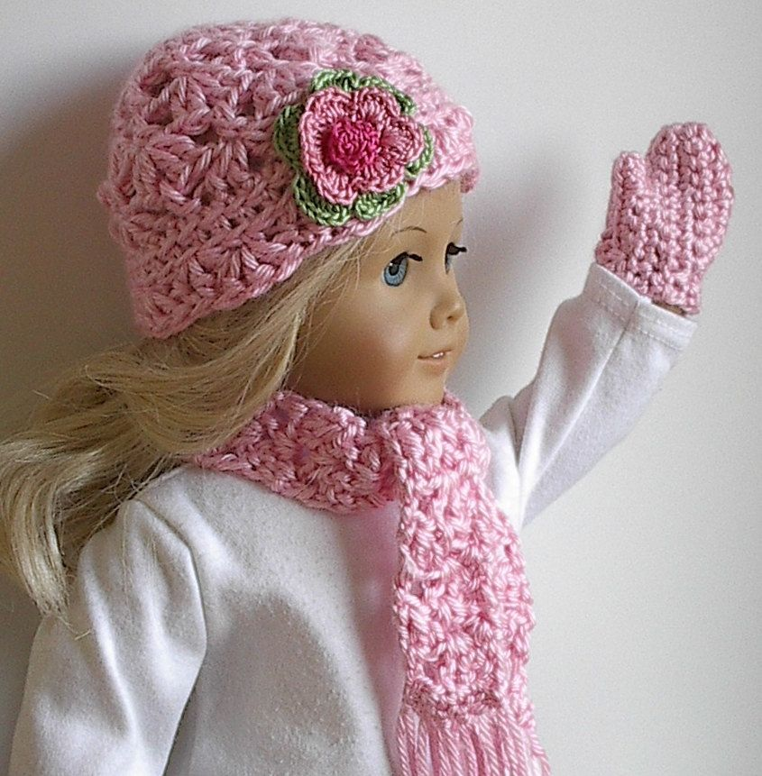 American Girl Doll Clothes Crocheted Hat Scarf by