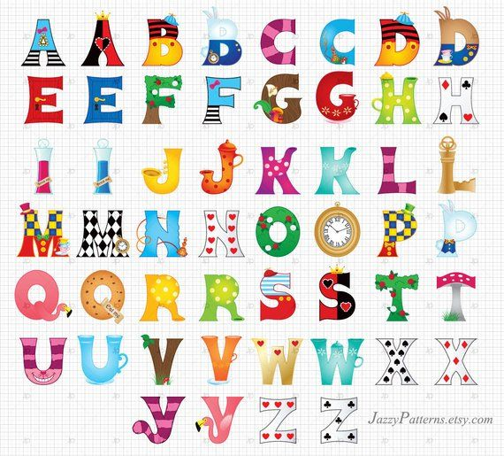 Alice Illustrated Letters Clipart For Classroom Decoration Custom