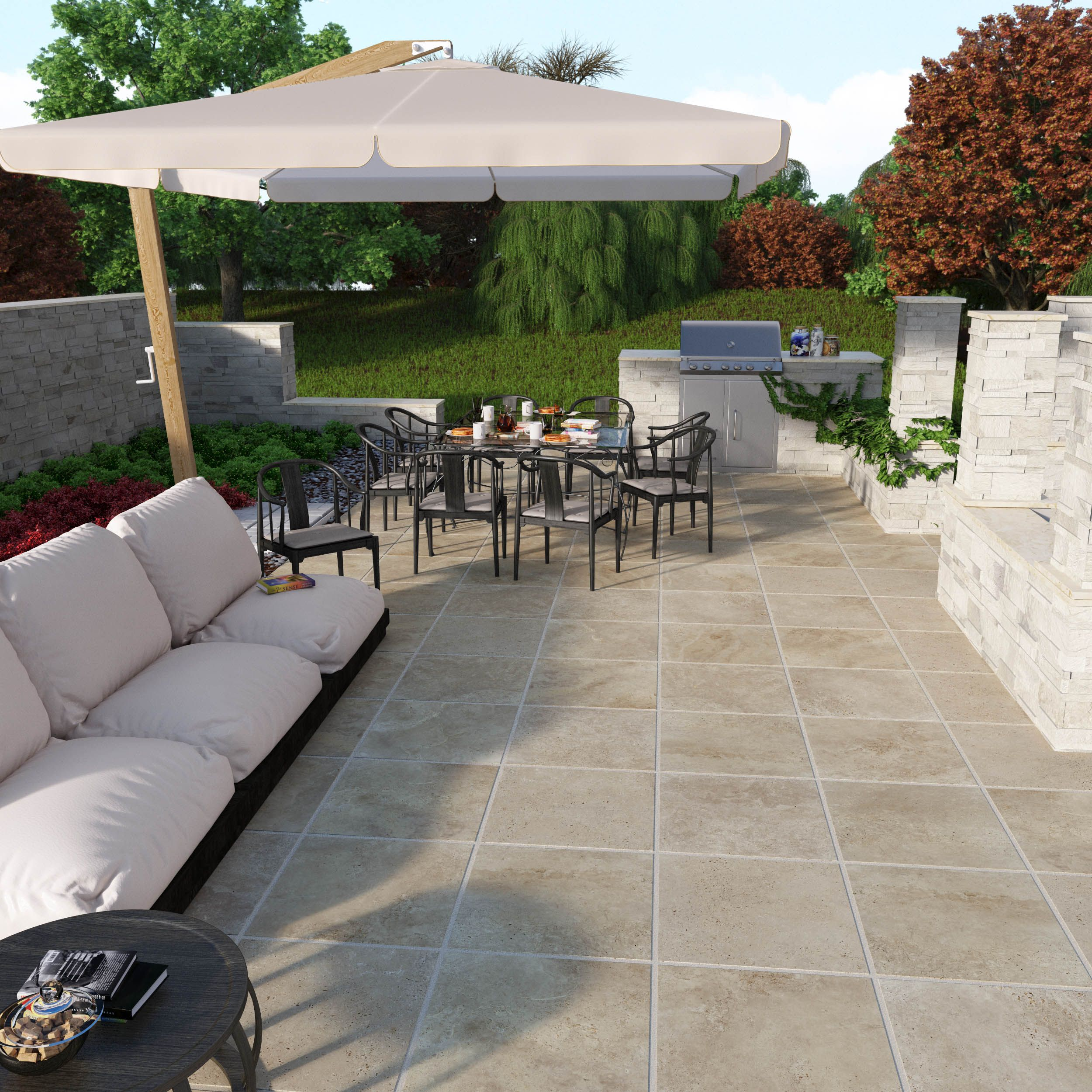 sandset porcelain patio stones easy to install for a stylish outdoor patio and living area. Black Bedroom Furniture Sets. Home Design Ideas
