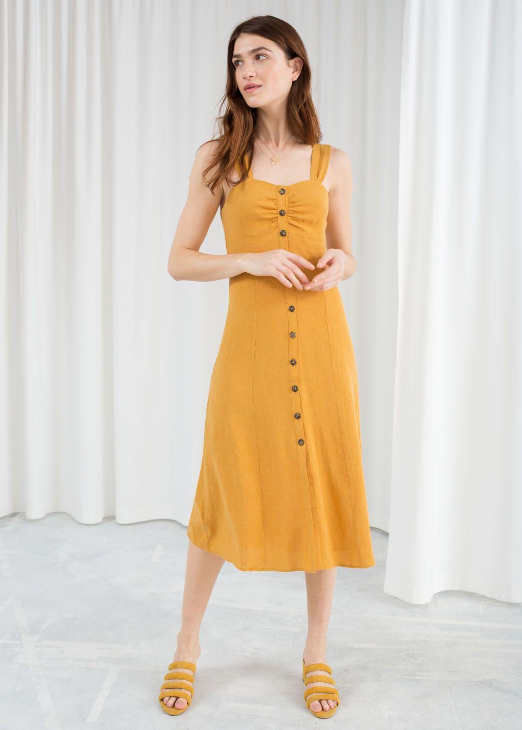 Linen blend midi dress yellow midi dress womens yellow