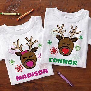 Cute Reindeer Boy Girl Christmas Shirt Toddler Infant Kids T-Shirt