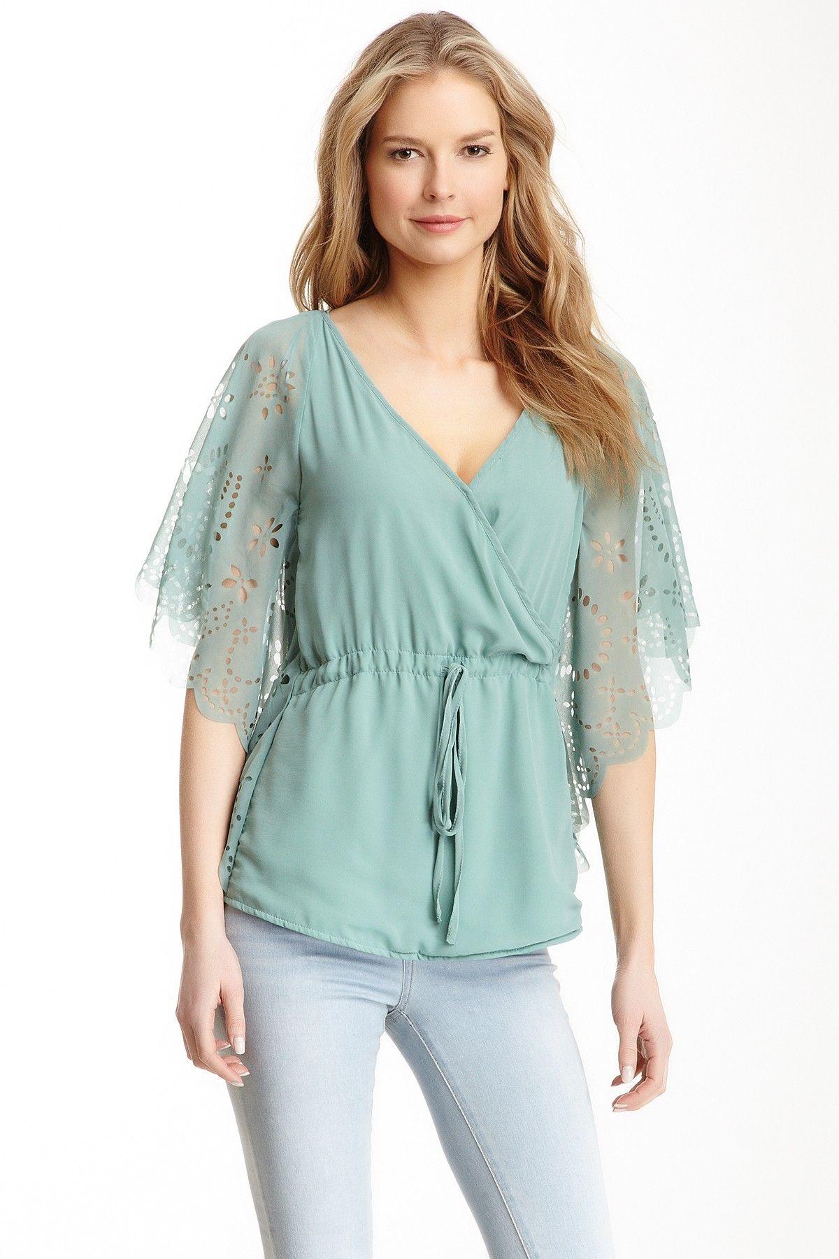 sea green laser cut blouse ++