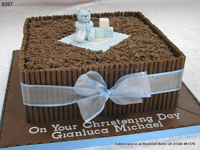 Chocolate Christening Cake http://www.cakescrazy.co.uk ...