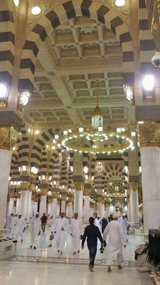 Beautiful view of the inside of masjid al nabavi #Medina