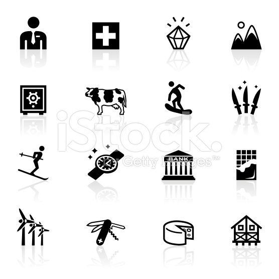 Illustration Of Different Switzerland Related Symbols La Suisse