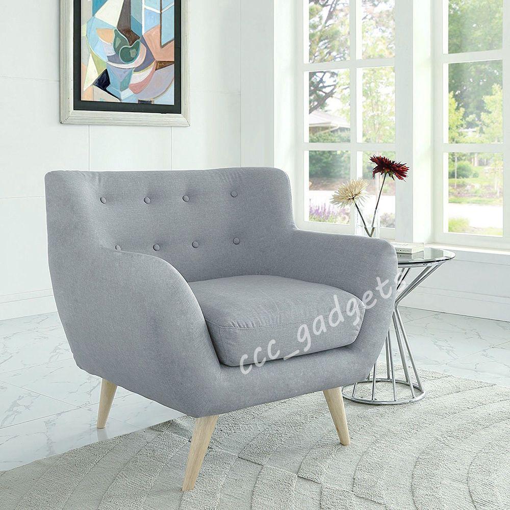 Linen Fabric 1 Single Seat Sofa Tub Arm Chair Dining Living Room ...