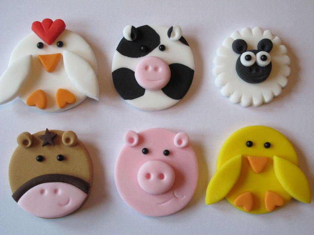6 Large Fondant 2d Handmade Farm Animals Cupcake Topperspigcow
