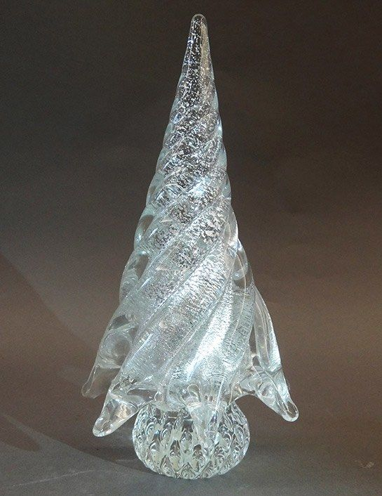 Murano Glass Christmas Tree Clear With Gold Infusion