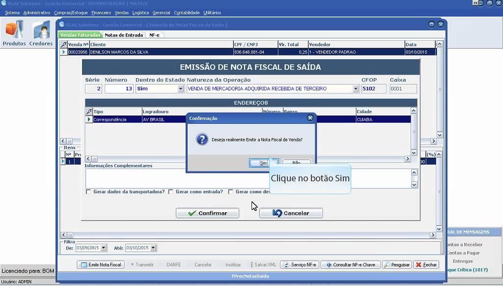 SGAE -  Sistema Gestão Comercial NF-e (Emissão Nota Fiscal Eletrônica)