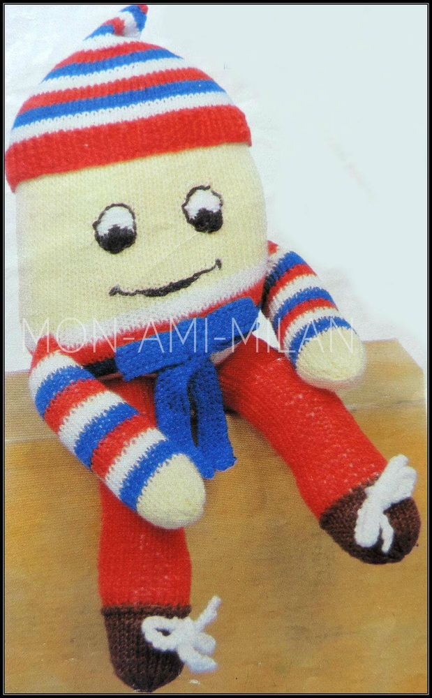 Vintage Knitting Pattern Copy HUMPTY DUMPTY DOLL SOFT KNIT NURSERY ...