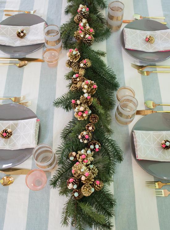 Pine Cone Pom Table Decor Christmas Table Decorations Table Decorations Christmas Table Settings