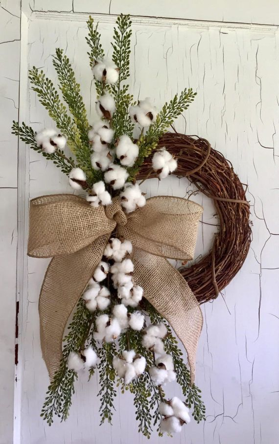Cotton Wreath for Door Farmhouse Decorating Ideas