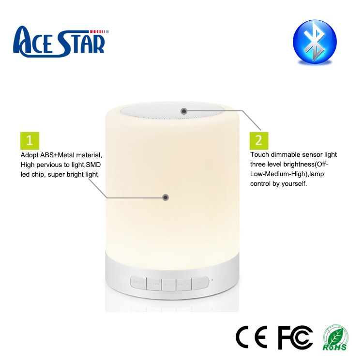 Bluetooth Speaker Touch Lamp Night Light Portable Wireless Mood Led Music Player Light Sensor Touch Lamp Light Control