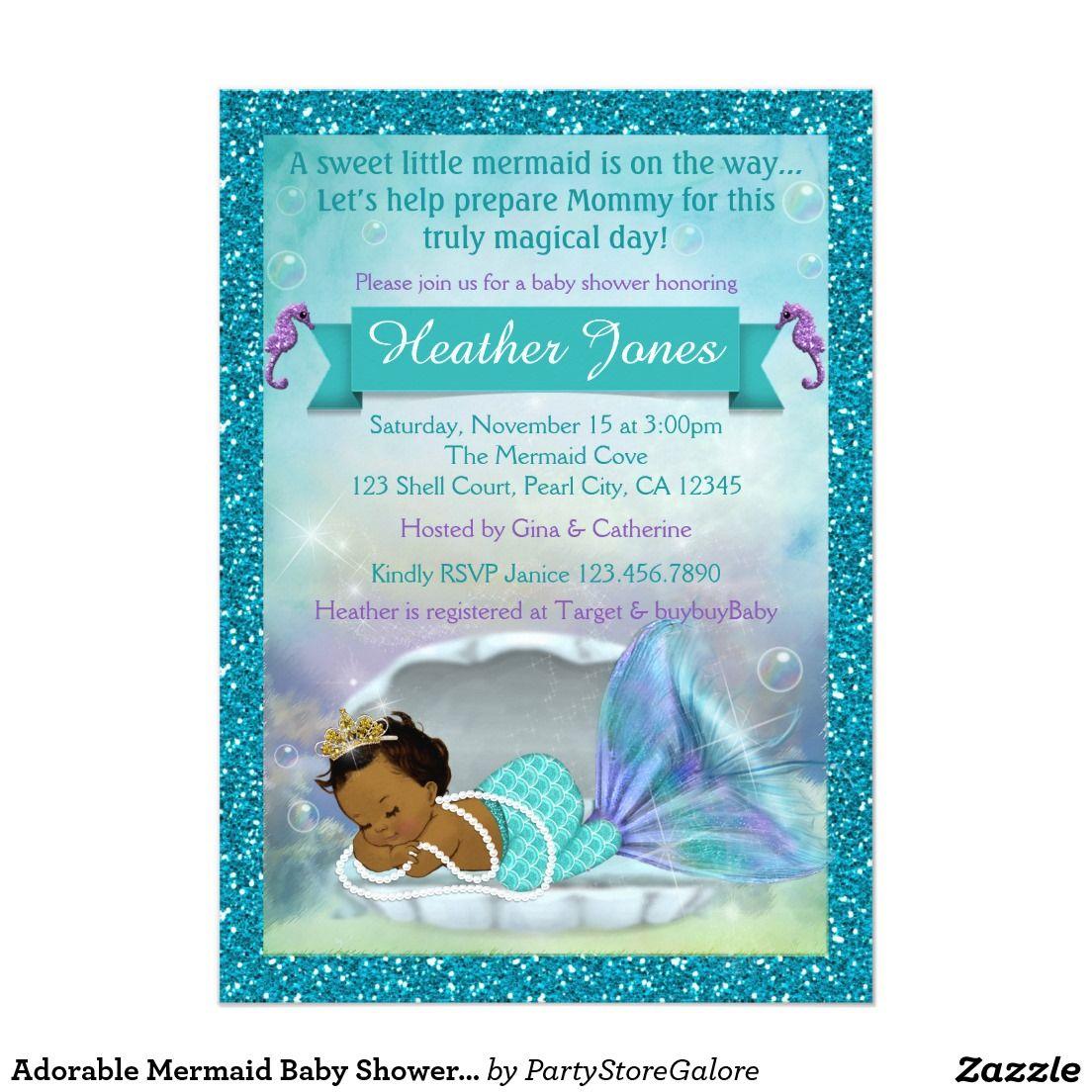 Adorable Mermaid Baby Shower Invitations #135 DARK | baby shower ...