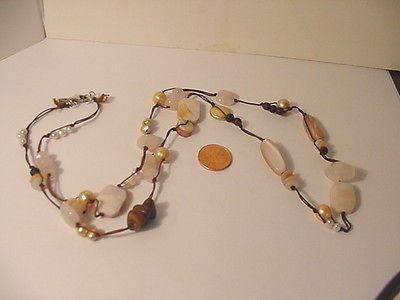 VTG-SILPADA-STERLING-SILVER-PINK-TAUPE-PEARL-QUARTZ-STONE-LARGE-BEAD-NECKLACE