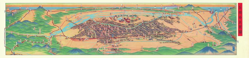 Panorama Map Of Nagaoka Niigata Prefecture Japan In - Map 0f japan