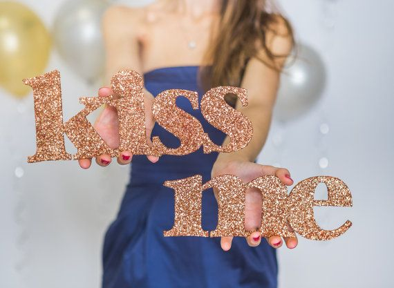 Glitter Words Photo Prop Kiss Me for Valentine's by ZCreateDesign