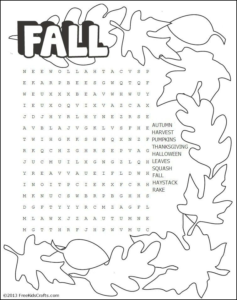Printable Fall Word Search Puzzle | Fall words, Sunday ...
