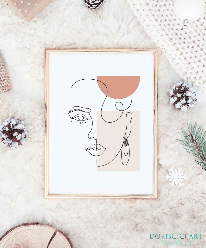 Art minimal de ligne de visage de femme, art de mur imprimable, affiche femelle, impression moderne, art de ligne minimaliste, impression dart de figure femelle, art scandinave