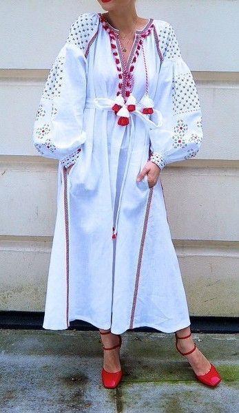 White Vita Kin style linen vyshyvanka linen MIDI dress black red Embroidery. Sizes - XS-XXL MD028