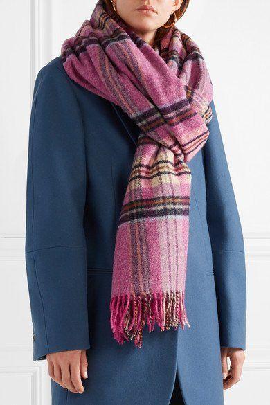 Fringed Plaid Wool Scarf - Pink We11done OTe9I