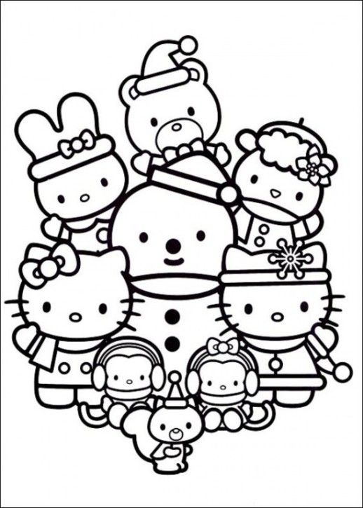 Hello Kitty Christmas Coloring Pages Google Search