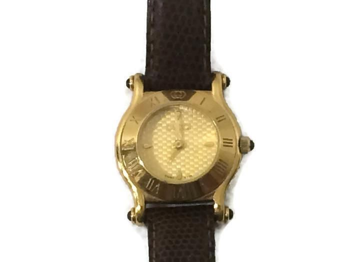 cab99e31b7a Authentic Gucci Gold Plated Women s Watch Leather Band Brown 6500L EUC   Gucci