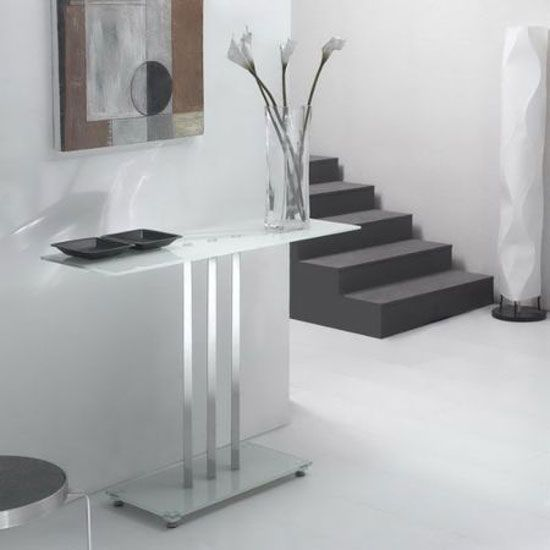 Trilogy Glass Console Table In White Console Tables In