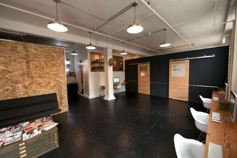 Painted concrete floors wall of desks good ideas for - Painting interior concrete walls ...