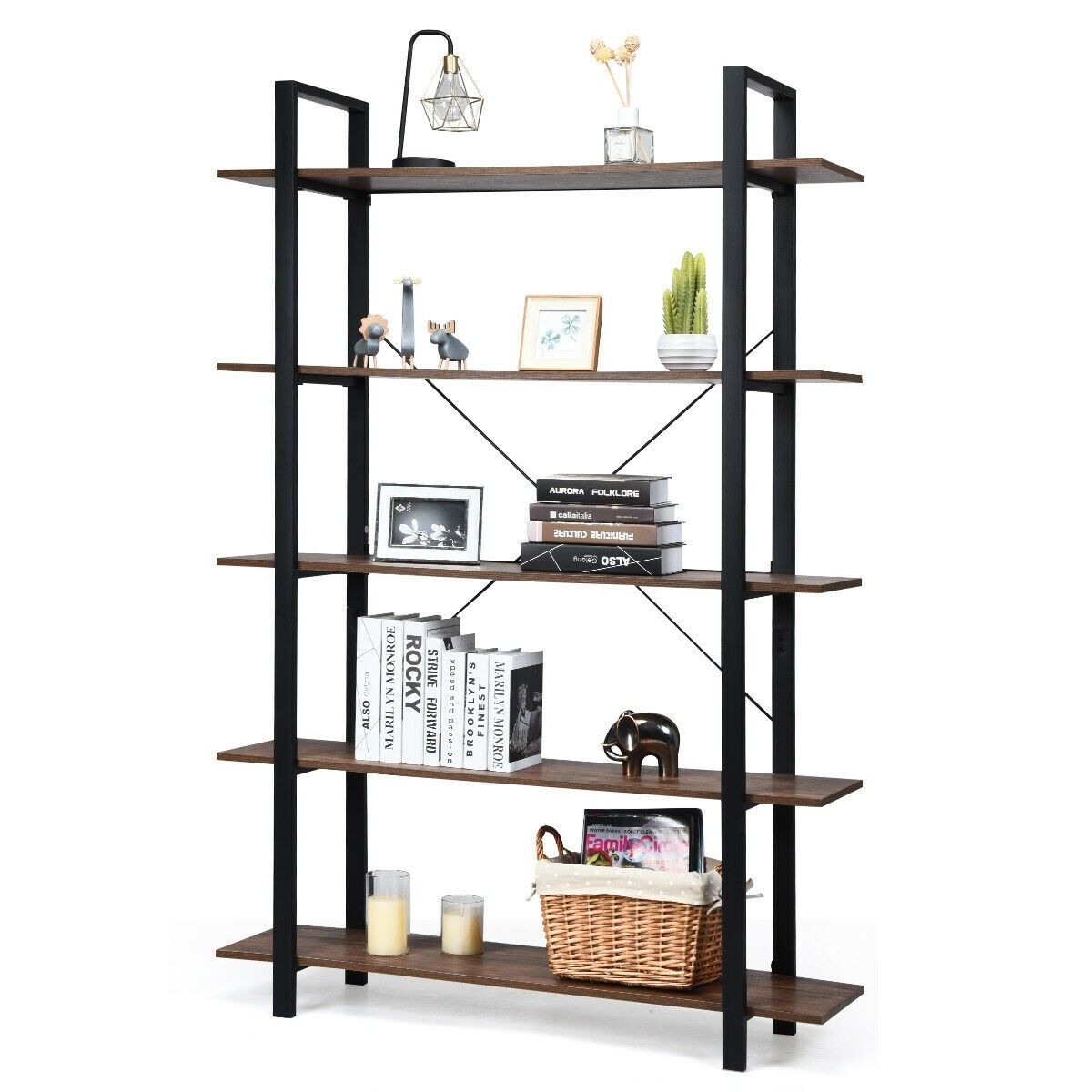 5 Tiers Bookshelf Industrial Bookcases Metal Frame Shelf Stand 129 95 Free Shipping It Is Made Of P2 Grade Pa Bookcase Frame Shelf Storage Furniture Bedroom
