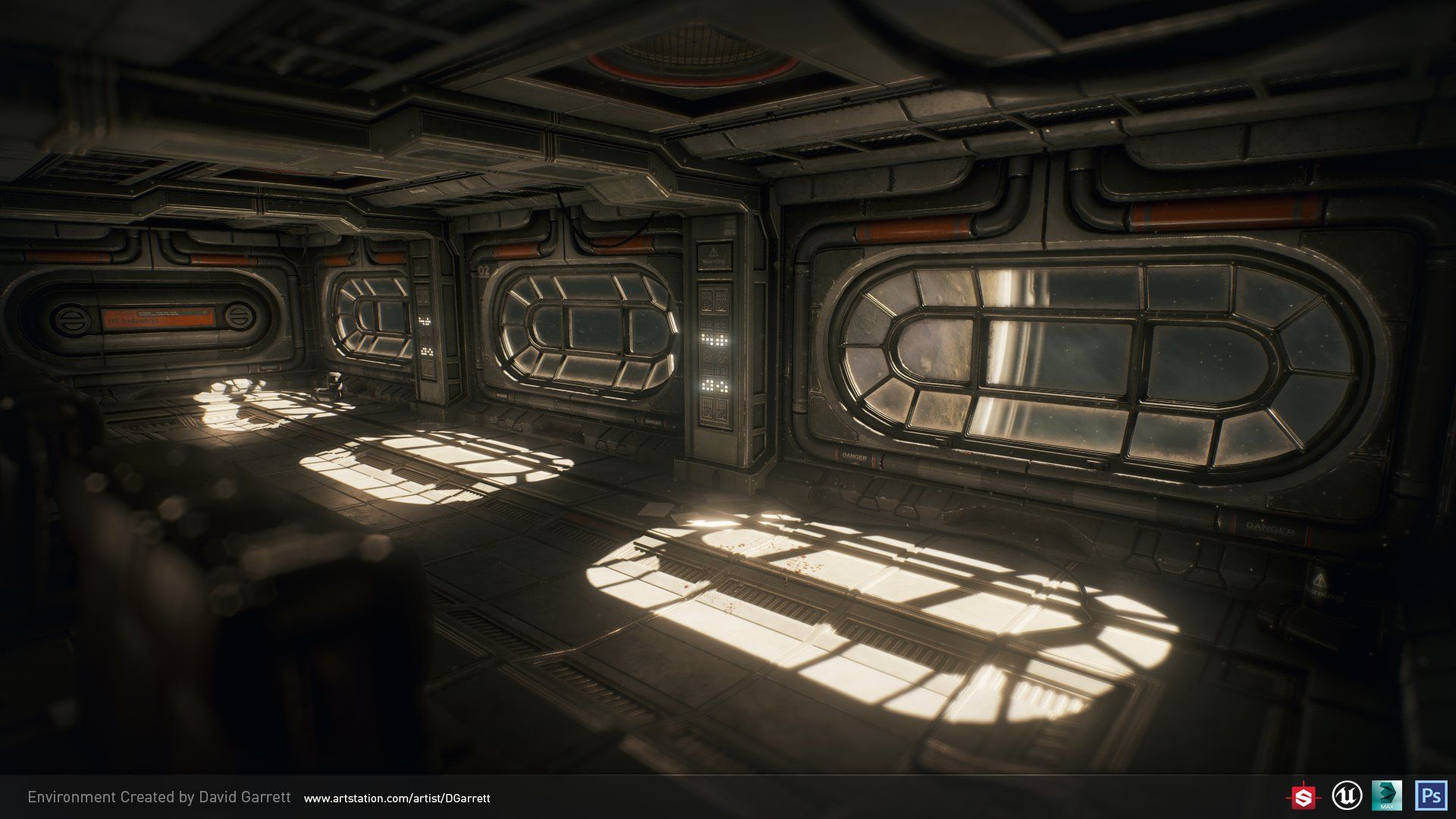 ArtStation - Spaceship interior UE4 environment, David Garrett