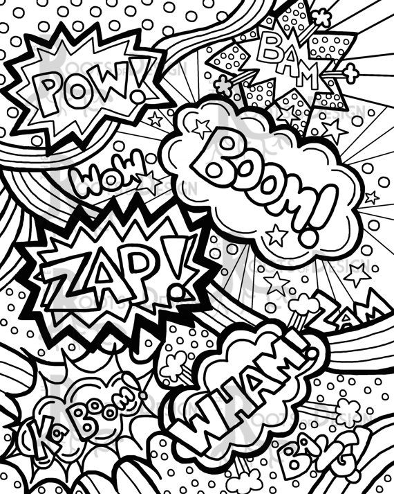 Instant Download Coloring Page Comic Book Words Pop Art Etsy In 2020 Pop Art Colors Pop Art Coloring Pages Pop Art Print