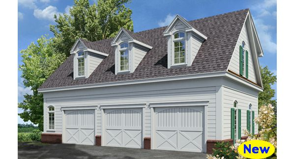 This detached garage plan features 3 car bays on the ground floor ...