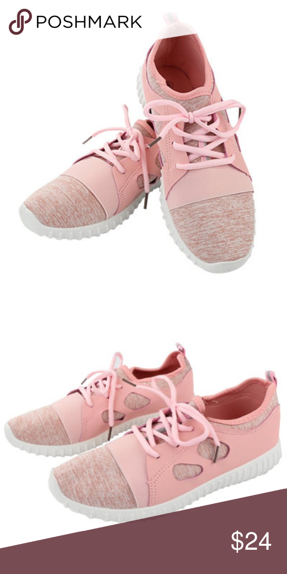 blush soft fabric lace-up trainer
