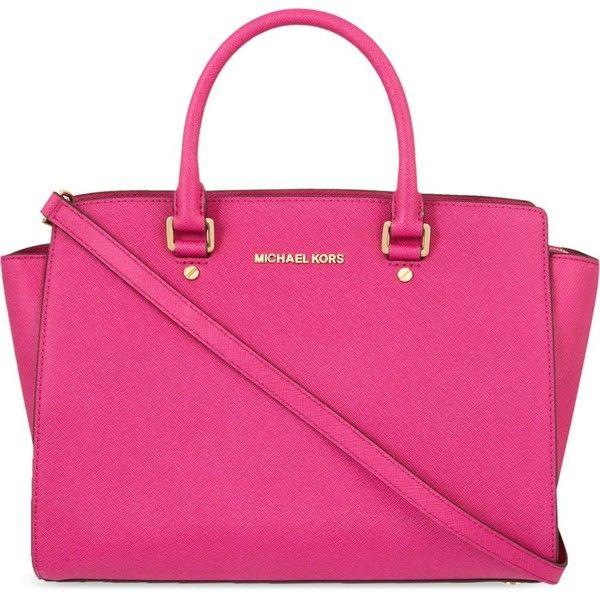 MICHAEL MICHAEL KORS Selma large Saffiano leather satchel (8.970 UYU) ❤ liked on Polyvore featuring bags, handbags, purses, bolsas, pink, fuschia, satchel handbags, strap purse, pink satchel and pink purse