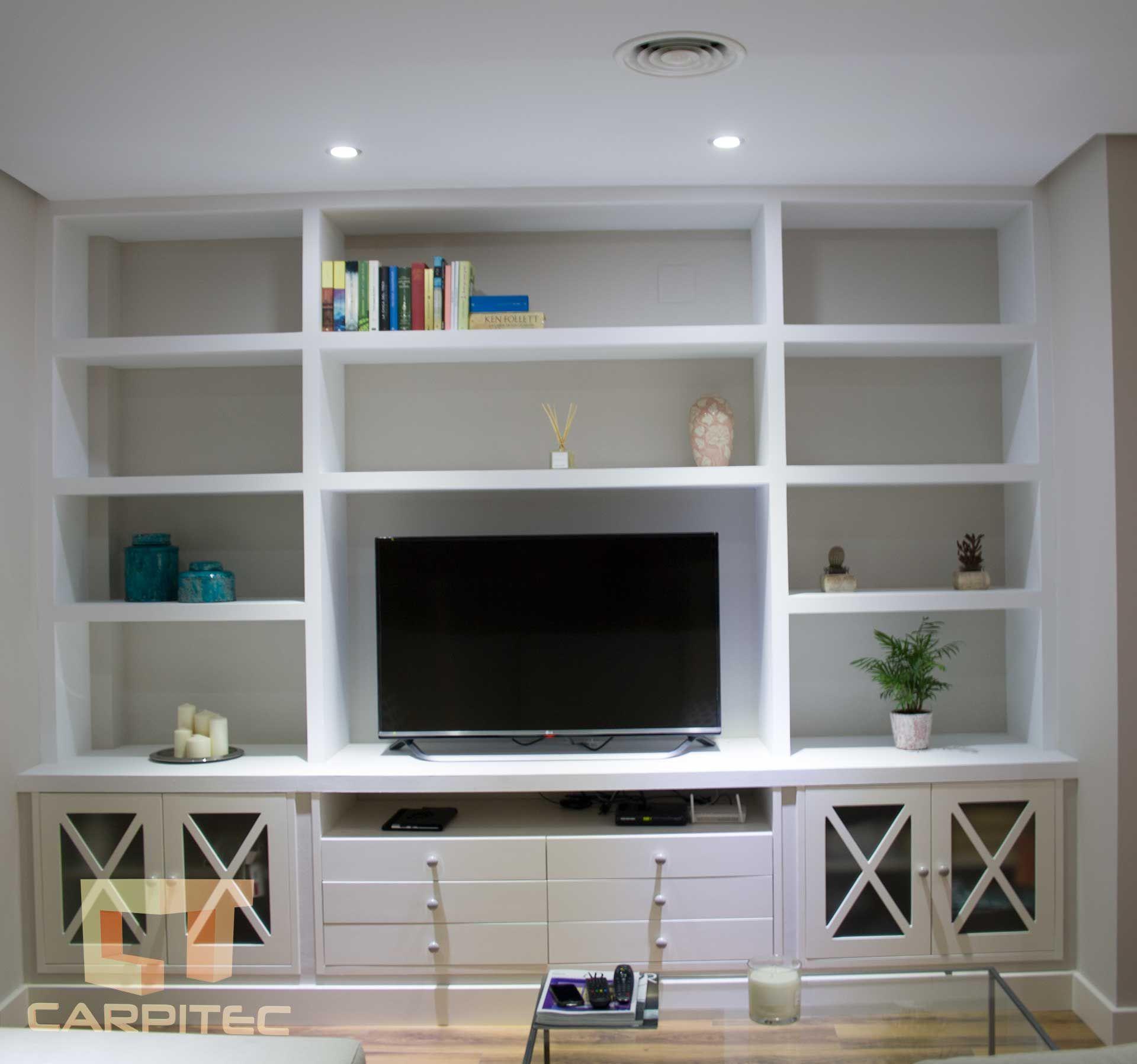 Muebles Lacados Blanco Para Salon.Salon Lacado En Blanco Con Muebles De Pladur Y Madera En