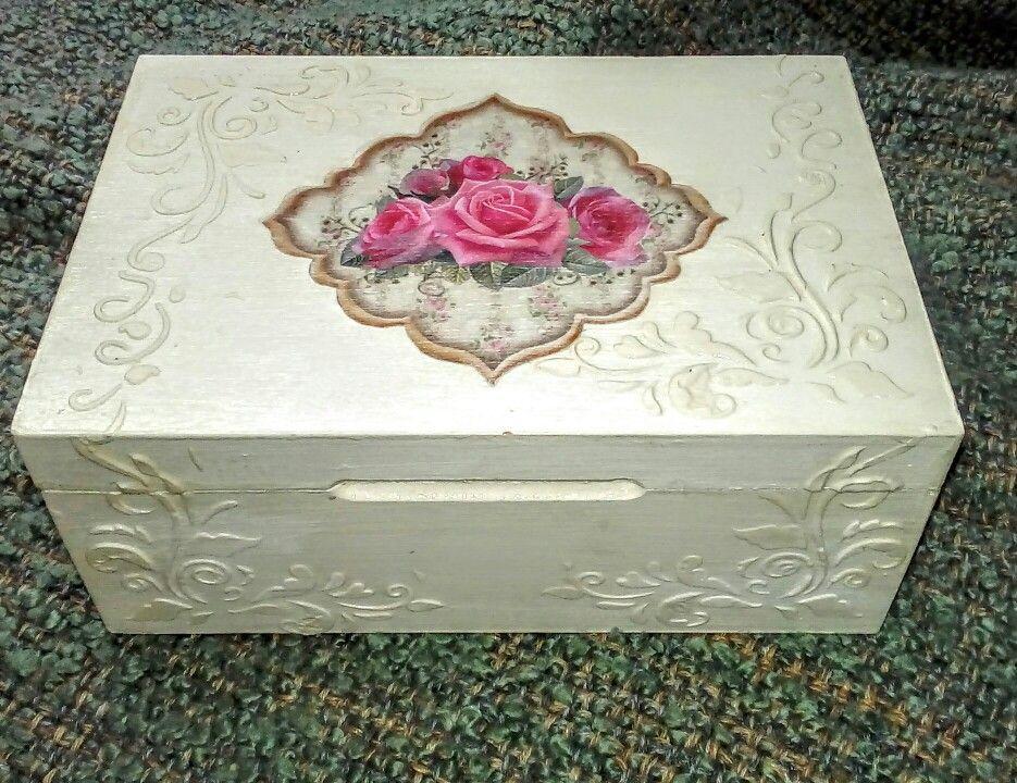Caja de te decoupage y relieve shabby chic vintage - Como hacer una caja para te ...