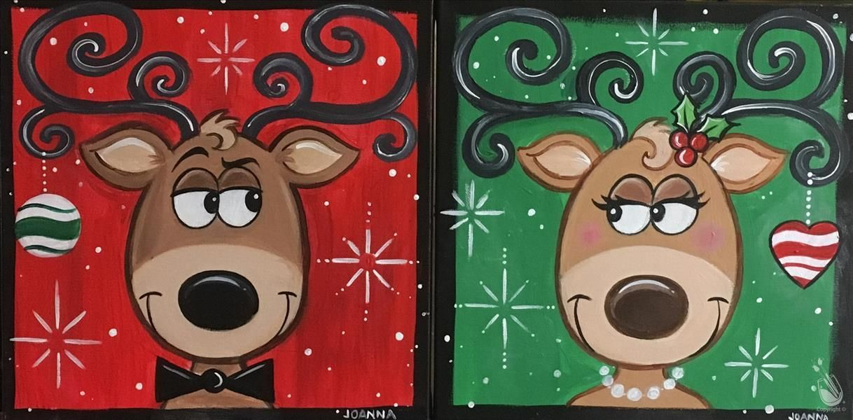 How To Paint 12 Square Canvas Couples Class Or 1 Side Christmas Paintings On Painting