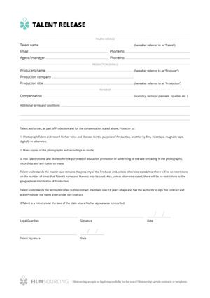 Talent release form for film Talent release form for film Treat - photographer release forms