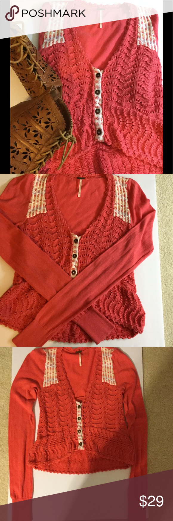 NEW LISTING Free People coral cardigan sweater❤ ❤ | Coral ...