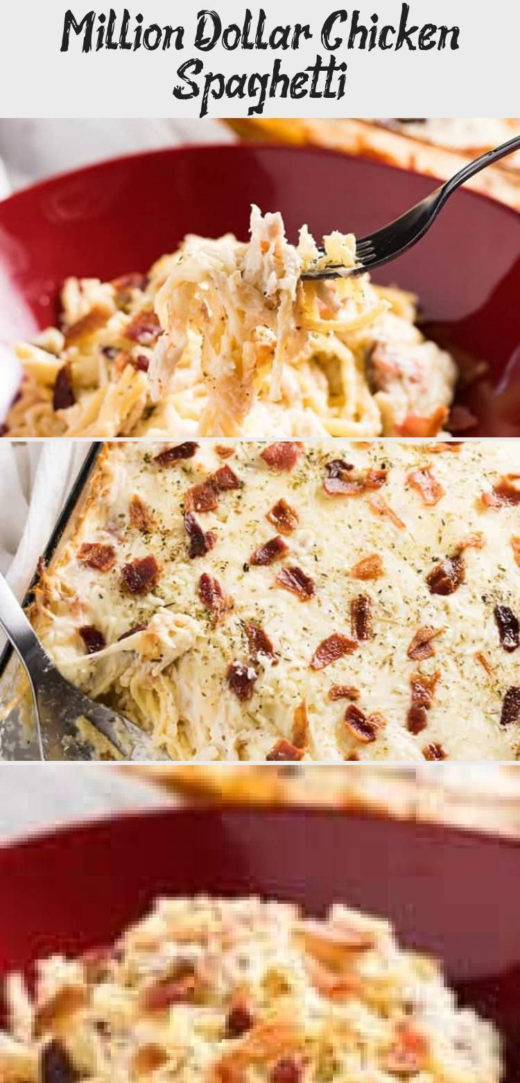 Million Dollar Chicken Spaghetti #sourcreamnoodlebake Million Dollar Chicken Spaghetti - The best ever chicken spaghetti that is easy to make!  This mouthwatering chicken spaghetti casserole is rich and hearty, full of cream cheese, bacon, sour cream, parmesan, mozzarella, tender chicken, and spaghetti noodles baked to perfection! #recipeForTwo #Ricerecipe #Cookingrecipe #Copycatrecipe #Vegetablerecipe #sourcreamnoodlebake Million Dollar Chicken Spaghetti #sourcreamnoodlebake Million Dollar Chi #sourcreamnoodlebake