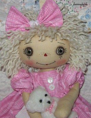 Primitive Folk Art Raggedy Ann Doll Cherish Butterfly Annie | eBay