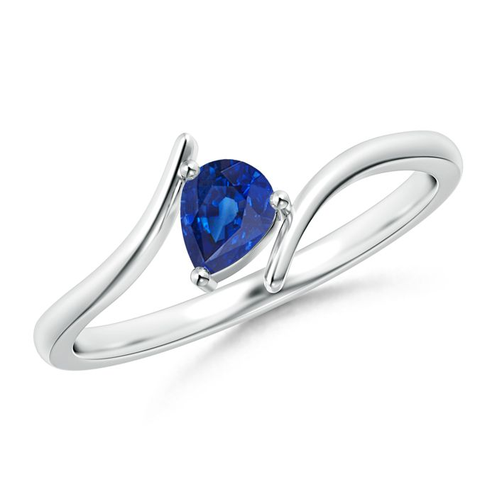 Angara Classic Solitaire Natural Sapphire Bypass Ring with Diamond in Platinum HSaVtPg