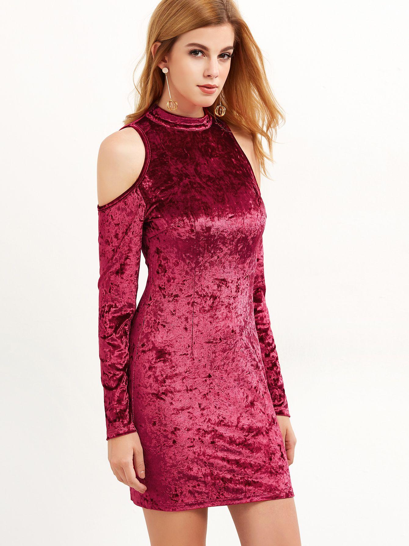 Burgundy Cold Shoulder Crushed Velvet Bodycon Dress | Pinterest ...