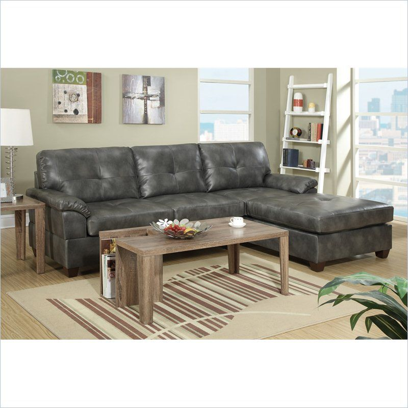 Bobkona Montreal 2 Piece Reversible Sectional Sofa in Ash Gray