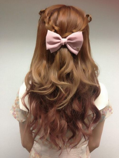 Half Up Half Down Hair Style With Pink Bow Hair Style Hair