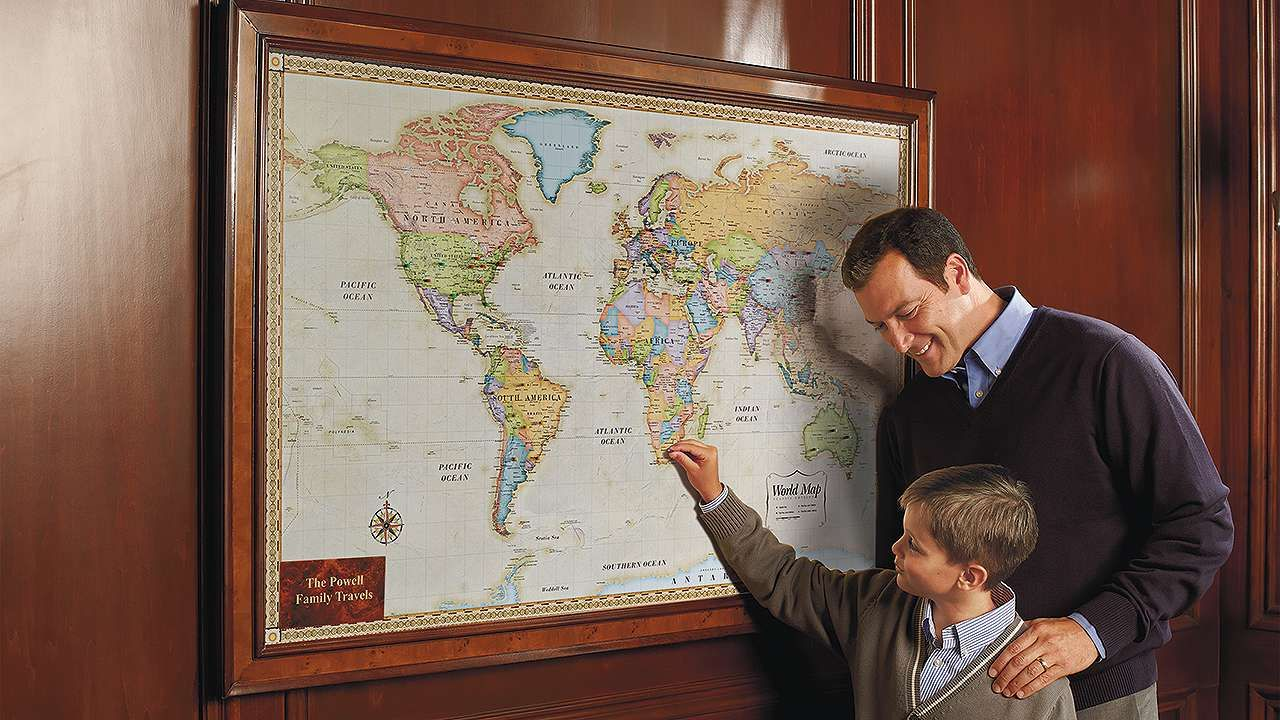 Us Magnetic Travel Map World Magnetic Travel Map with Burlwood Frame | Frontgate | Travel
