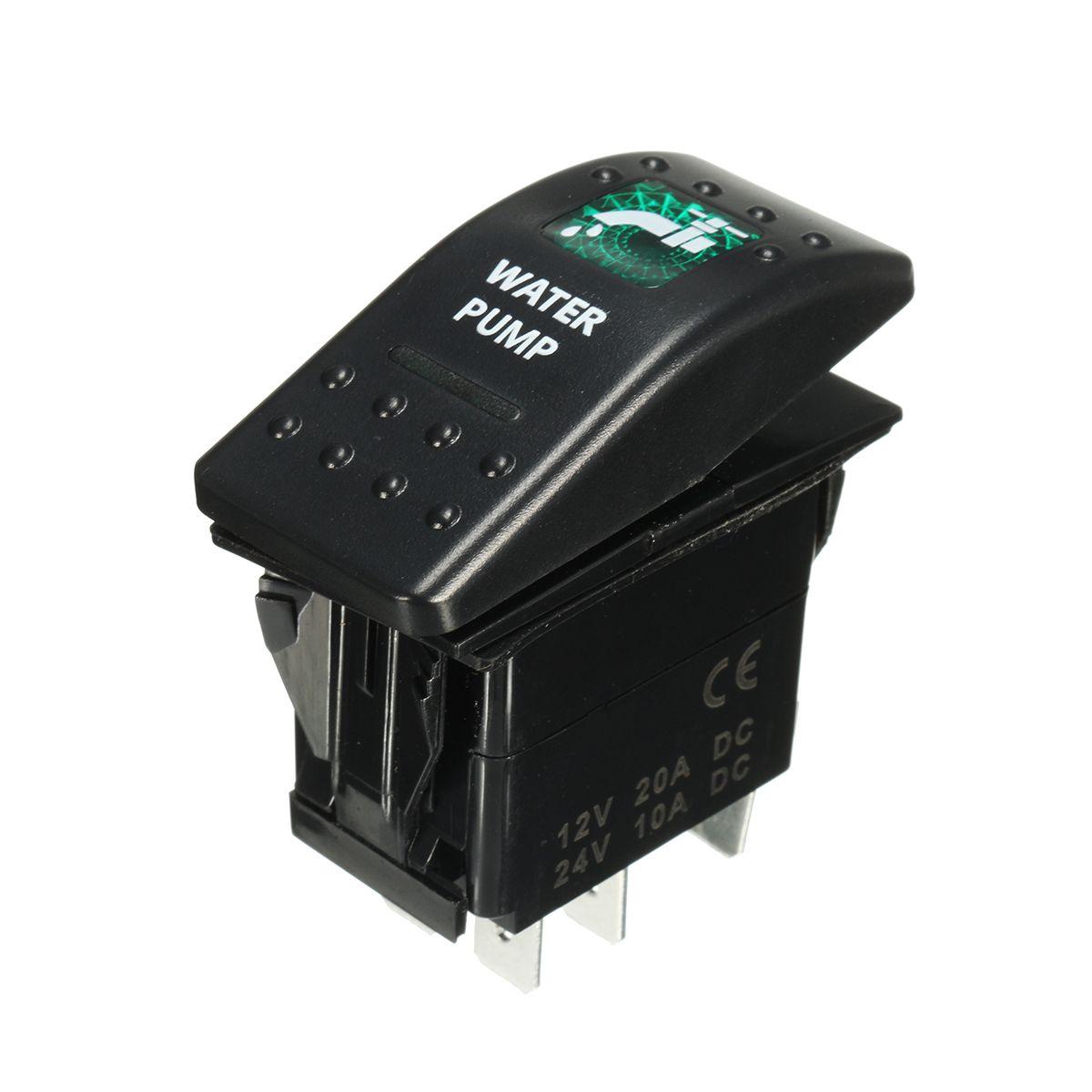 SPST 12V 20A 5 Pins Rocker Switch Blue LED Water Pump Rocker Toggle ...